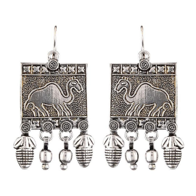Generic Women's Brass Earrings (Silver, free Size)