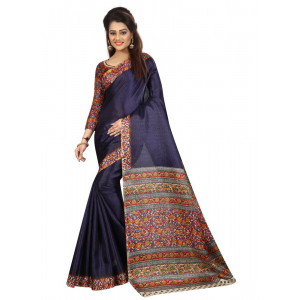 Generic Women's Silk Saree(Navy, 5.5-6mtrs)