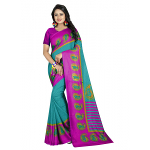 Generic Women's Polyester Saree(Turquoise, 5.5-6mtrs)