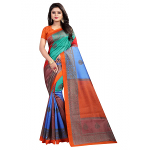 Generic Women's Silk Saree(Orange, 5.5-6mtrs)