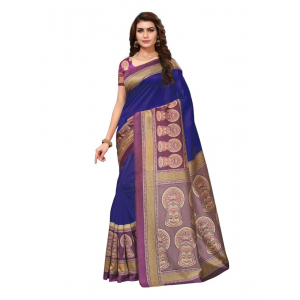 Generic Women's Silk Saree(Blue, 5.5-6mtrs)
