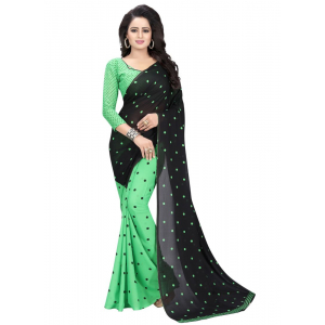 Generic Women's Georgette Saree(Green, 5.5-6mtrs)