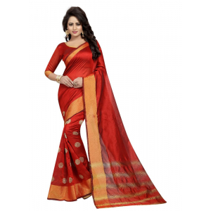 Generic Women's Cotton Saree(Red, 5.5-6mtrs)