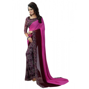 Generic Women's Georgette Saree(Purple, 5.5-6mtrs)