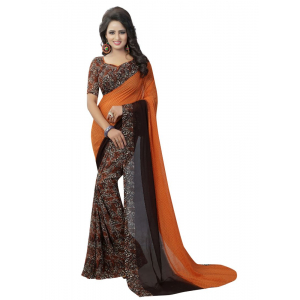 Generic Women's Georgette Saree(Orange, 5.5-6mtrs)