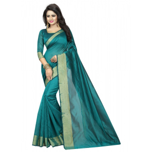 Generic Women's Silk Cotton Saree(Green, 5.5-6mtrs)