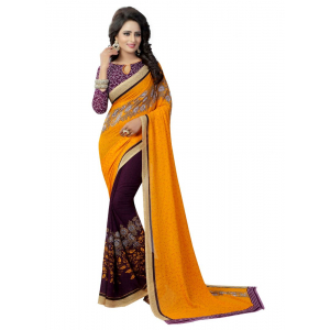 Generic Women's Georgette Saree(Yellow, 5.5-6mtrs)