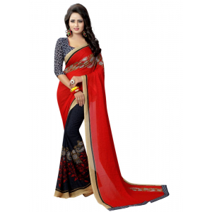 Generic Women's Georgette Saree(Red, 5.5-6mtrs)
