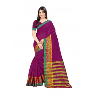 Generic Women's Cotton Silk Saree(Magenta, 5.5-6 Mtr)