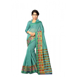 Generic Women's Cotton Silk Saree(Teal, 5.5-6 Mtr)