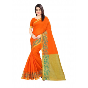 Generic Women's Cotton Silk Saree(Orange, 5.5-6 Mtr)