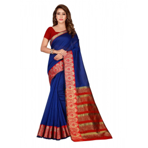 Generic Women's Cotton Silk Saree(Blue, 5.5-6 Mtr)