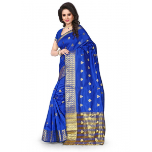 Generic Women's Cotton  Saree(Blue, 5.5-6 Mtr)