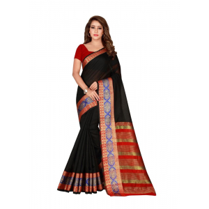 Generic Women's Cotton Silk Saree(Black, 5.5-6 Mtr)
