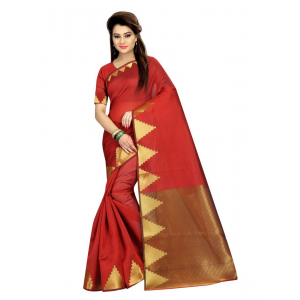 Generic Women's Cotton  Saree(Red, 5.5-6 Mtr)