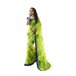 Generic Women's Georgette Saree (Green, 5.5-6mtrs)