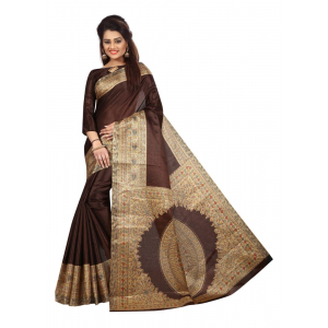 Generic Women's Khadi Silk Saree (Brown, 5.5-6mtrs)