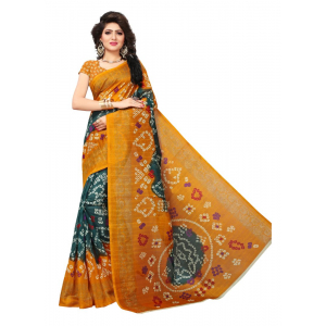 Generic Women's Bhagalpuri Silk Saree (Yellow And Green, 5.5-6mtrs)