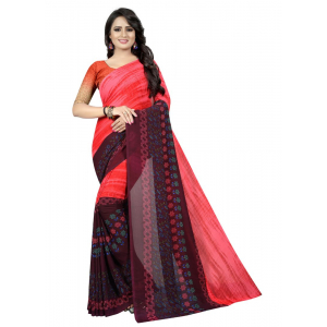 Generic Women's Georgette Saree (Red, 5.5-6mtrs)