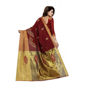 Generic Women's Cotton Polyester Silk Saree (Maroon, 5.5-6mtrs)