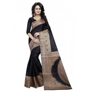 Generic Women's Khadi Silk Saree (Black, 5.5-6mtrs)
