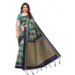 Generic Women's Art Silk Saree (Green And Blue, 5.5-6mtrs)