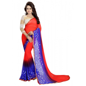 Generic Women's Chiffon Saree (Red And Blue, 5.5-6mtrs)