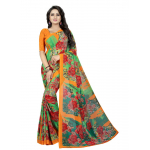 Generic Women's Georgette Saree (Orange And Green, 5.5-6mtrs)