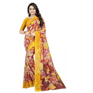 Generic Women's Georgette Saree (Red And Yellow, 5.5-6mtrs)