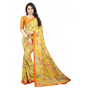 Generic Women's Georgette Saree (Yellow, 5.5-6mtrs)