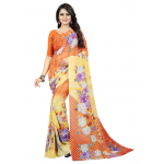 Generic Women's Georgette Saree (Orange, 5.5-6mtrs)