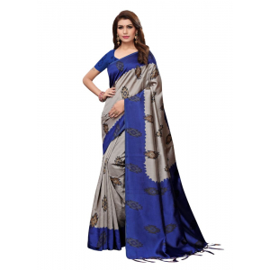 Generic Women's Art Silk Saree (Grey And Blue, 5.5-6mtrs)