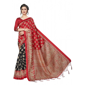 Generic Women's Banarasi art silk Saree (Red black, 5.5-6mtrs)
