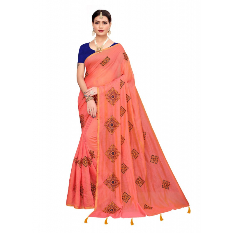 Generic Women's Chandheri cotton Saree (Light orange, 5.5-6mtrs)
