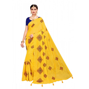 Generic Women's Chandheri cotton Saree (Yellow, 5.5-6mtrs)