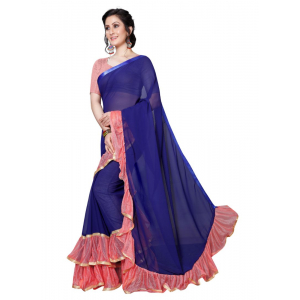 Generic Women's Georgette Saree (Navy  Blue And Pink, 5.5-6mtrs)