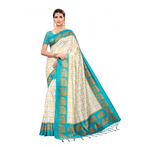 Generic Women's Art silk With Tassels Saree (Rama, 5.5-6mtrs)