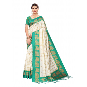 Generic Women's Art silk With Tassels Saree (Green, 5.5-6mtrs)