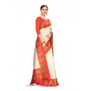 Generic Women's Art silk With Tassels Saree (Red, 5.5-6mtrs)