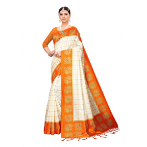 Generic Women's Art silk With Tassels Saree (Orange, 5.5-6mtrs)