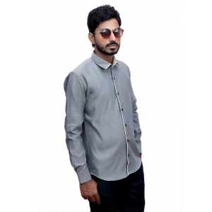 Generic Men's 100% Cotton Men Shirt (Grey)