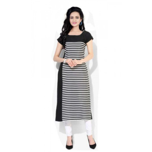 Generic Women's American Crepe Kurti (Black And white)