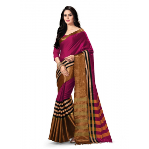Generic Women's 100% Gas Mercerized  Handloom Cotton Soft Silk Saree (Magenta, 5.5-6mtrs)