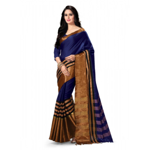 Generic Women's 100% Gas Mercerized  Handloom Cotton Soft Silk Saree (Blue, 5.5-6mtrs)