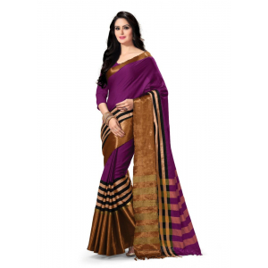 Generic Women's 100% Gas Mercerized  Handloom Cotton Soft Silk Saree (Purple, 5.5-6mtrs)