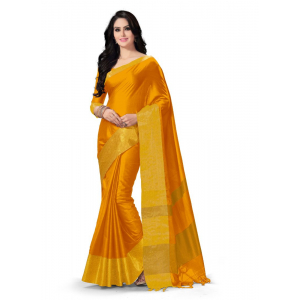 Generic Women's 100% Gas Mercerized  Handloom Cotton Soft Silk Saree (Yellow, 5.5-6mtrs)