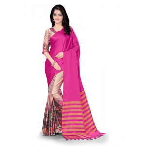 Generic Women's Handloom Cotton Soft Silk Saree (Pink, 5.5-6mtrs)