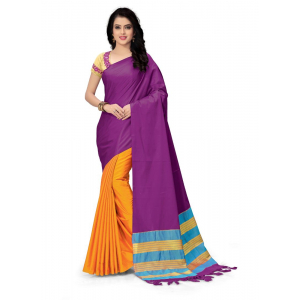 Generic Women's Handloom Cotton Soft Silk Saree (Purple And Yellow, 5.5-6mtrs)
