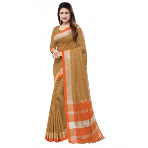 Generic Women's Blended Cotton Linen  Saree (Light Brown, 5.5-6mtrs)