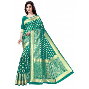 Generic Women's Banarasi Cotton Silk Sarees Saree (Green, 5.5-6mtrs)